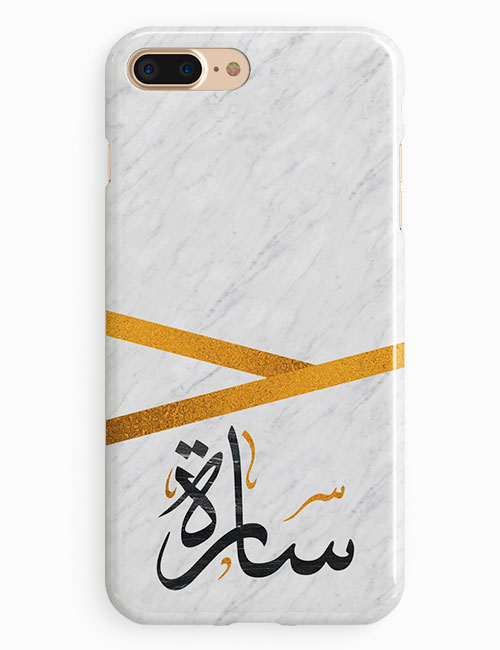 White Marble With Custom Name Phone Case Lacellki Store